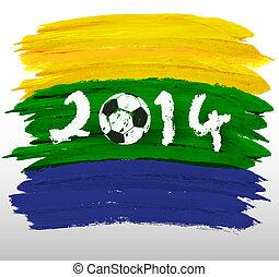 brasile, estate, astratto, acquarello, bandiera, vettore, fondo, 2014., concept.