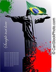brasile, immagine, coperchio, bandiera, brasiliano, opuscolo
