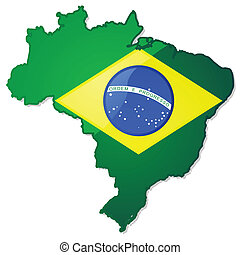 brasile, mappa, bandiera