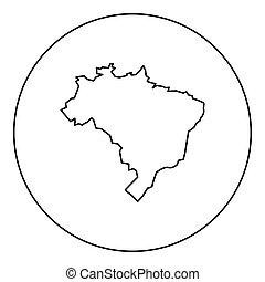 brasile, mappa, colorare, cerchio nero, rotondo, icona