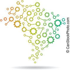 brasile, mappa, immagine, ingranaggio, logotipo