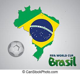 brasile, mappa, naturale, tazza, carta, fifa, 2014, mondo, scheda, 3d