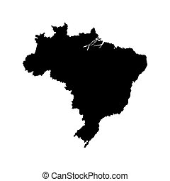 brasile, mappa, silhouette