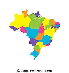 brasile, mappa, stati, colorare