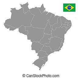 brasile, mappa, vettore, politico, grigio