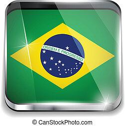 brasile, smartphone, bottoni, domanda, bandiera, quadrato