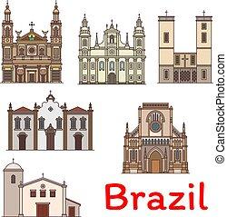 brasile, viaggiare, famoso, magro, punto di riferimento, linea, icona