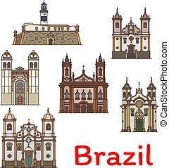 brasile, viaggiare, popolare, magro, punto di riferimento, linea, icona