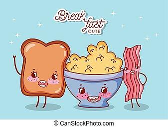 bread, cereale, carino, cartone animato, pancetta affumicata, colazione