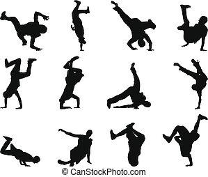 break-dance, set, silhouette