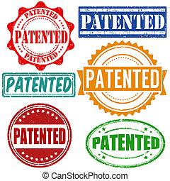 brevettato, francobolli, set