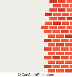 brickwork., testo, libero, parete, rosso, spazio