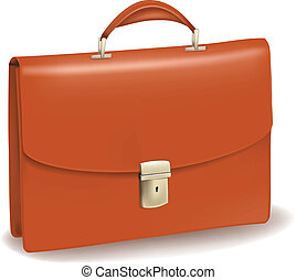 briefcase., affari, marrone
