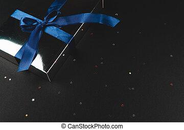 brillare, stars., blu, regalo, nero, piccolo, fondo, arco, scatola