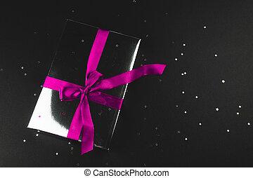 brillare, stars., regalo, nero, piccolo, sfondo rosa, arco, scatola