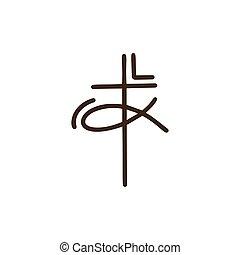 broadcast., monoline, emblema, disegno, croce, illustrazione, manifesto, vettore, religioso, elemento, comunità, segno, cristiano, concetto, distintivo, fish, linea, life., logotipo