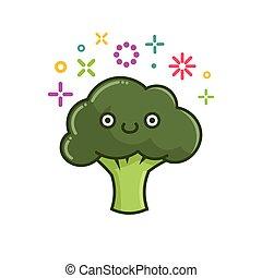 broccolo, illustrazione, kawaii, sorridente, cartone animato