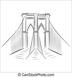 brooklyn, bridge., icona