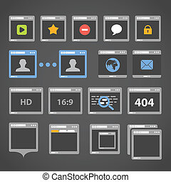 browser web, collezione, icone