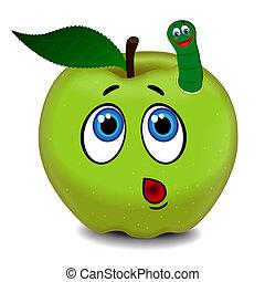 bruco, sorpreso, mela