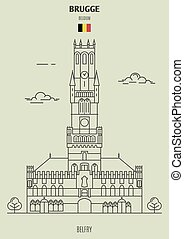brugge, punto di riferimento, belgium., icona, campanile