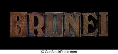 brunei, vecchio, legno, tipo