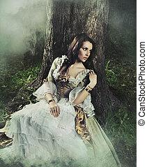 brunetta, bellezza, antiquato, foresta, splendido, vestire