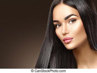 brunetta, bellezza, giovane, faccia, donna, closeup, ritratto, ragazza, moda