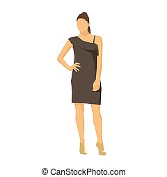 brunetta, disegno geometrico, vettore, donna d'affari, vestire, standing, appartamento, illustrazione, marrone