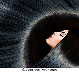 brunetta, donna, bellezza, nero, hair., sano, lungo