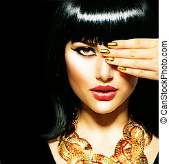 brunetta, egiziano, bellezza, woman., dorato, accessori