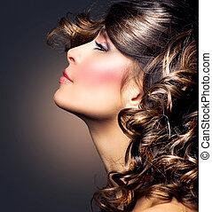 brunetta, ragazza donna, bellezza, portrait., hair., riccio