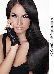 brunetta, ragazza, girl., bellezza, hair., modello, woman., isolato, ritratto, hairstyle., sano, fondo., lungo, bello, bianco