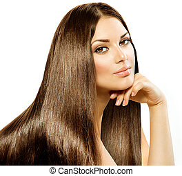 brunetta, ragazza, hair., isolato, bello, lungo, diritto, bianco