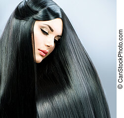 brunetta, ragazza, hair., lungo, diritto, bello