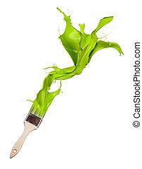 brush., fondo, isolato, fuori, vernice verde, gli spruzzi, bianco