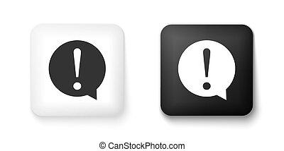 bubble., button., file, discorso, copia, segno., isolato, avvertimento, esclamazione, simbolo., nero, chiacchierata, marchio, quadrato, cerchio bianco, vettore, faq, icona, fondo., azzardo