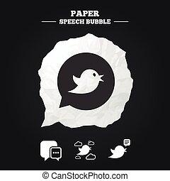bubble., media, icons., discorso, sociale, uccelli