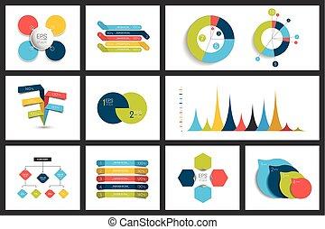 bubbles., elementi, schemi, grafici, set, infographics, cerchio, tabelle, appartamento, discorso, 3d, design.