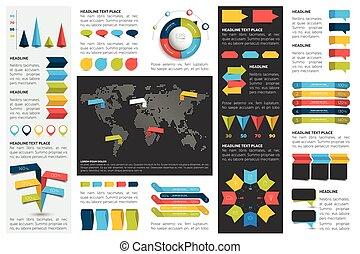 bubbles., elementi, schemi, grafici, set, infographics, cerchio, tabelle, mega, discorso, 3d, design., appartamento