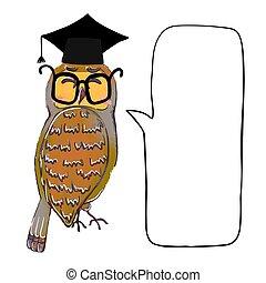 buble, saggio, gufo, laureato, speach, berretto