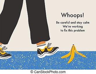 buccia, fondo, scivolare, vettore, banana, pagina, errore, pericolo