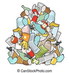 buccia, immondizia, giornale., mucchio, stub., osso, fondo., mucchio, isolated., vecchio, stagno, spiegazzato, plastica, packaging., banana, carta, trash., rubbish., pila, bottiglia, figliata