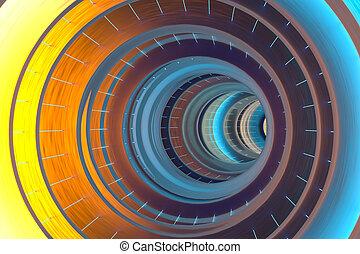buco, ardendo, multicolor, 3d, tunnel, rendering., colorito