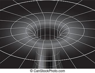 buco, nero, isometrico, vista