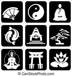 buddismo, religioso, segni