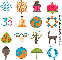 buddismo, set, icone