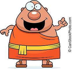 buddista, idea, monaco, cartone animato