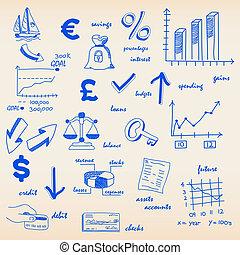budget, finanza, icone