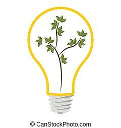 bulb., vettore, idea, eco, icona, luce, illustrazione